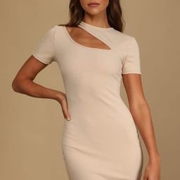 Slice of Life Beige Ribbed Asymmetrical Cutout Mini Dress | Lulus (US)