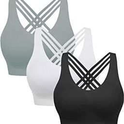 AKAMC 3 Pack Women's Medium Support Cross Back Wirefree Removable Cups Yoga Sport Bra | Amazon (US)