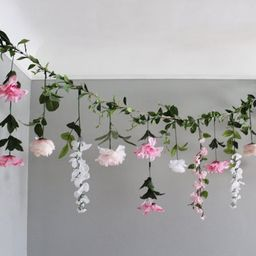 Pink and White Hanging Flowers, Flower Garland Backdrop, Wedding Flower Garland, Wedding Ceremony... | Etsy (US)