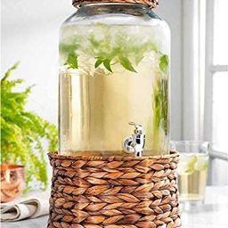 Modern 2 Gallon Wicker Basket Ice Cold Clear Glass Beverage Drink Dispenser With Spigot With Ratt... | Amazon (US)