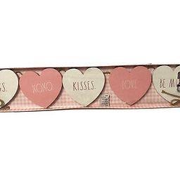 "Rae Dunn Valentine's Day Pink White Wood Hearts  36"" Garland XOXO kisses | eBay US"