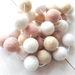 Pink and Cream Garland, Pom Pom Garland, Felt Ball Garland, Baby Girl Nursery Room, Wedding Banne... | Etsy (US)