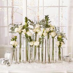 10 Piece Rosedale Clear/Stainless Steel Glass Table Vase Set | Wayfair North America