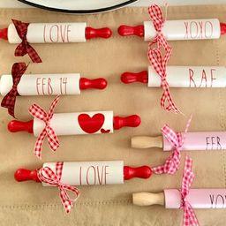 Valentine Mini Rolling Pin-Rae Dunn Inspired  Decor-Tier Tray Decor-Wooden mini rolling pins-kitc... | Etsy (US)