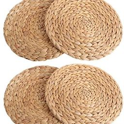 kilofly Natural Water Hyacinth Weave Placemat Round Braided Rattan Tablemats 11.8 inch x 4pc | Amazon (US)