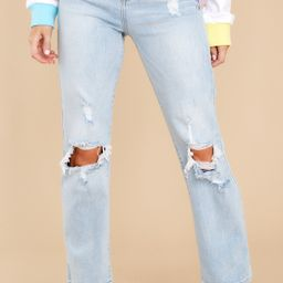 Breaking Tradition Light Wash Distressed Straight Jeans | Red Dress