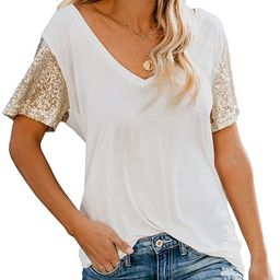 Topstype Women's Sequin Short Sleeve Tee V Neck T Shirts Glitter Sparkles Loose Blouse Tops   Amazon (US)