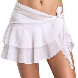 Manioiity Womens Chiffon Beach Cover up Sarong Multi Wear Ruffle Pareo Canga Swimsuit Wrap | Amazon (US)