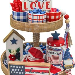 4th of July American Decorative Tiered Tray Decor 9pc Stars and Stripes Bundle Patriotic Signs Am...   Amazon (US)