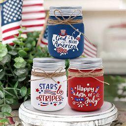 Nefelibata 4th of July Mini Mason Jar Decors Patriotic Farmhouse Tiered Tray Decor Rustic Table D...   Amazon (US)