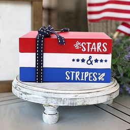 Patriotic Mini Wood Book Stack 4th of July Decorative Farmhouse Tiered Tray Decor for Home Americ...   Amazon (US)