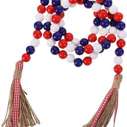 Wood Bead Garland with Rustic Tassels, Farmhouse Wall Hanging Prayer Beads Patriotic American Ind...   Amazon (US)