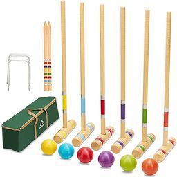 ApudArmis Six Player Croquet Set with Premiun Pine Wooden Mallets 28In,Colored Ball,Wickets,Stake... | Amazon (US)