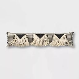 Bed Lumbar Global Fringe Decorative Pillow Black/Cream - Opalhouse™   Target