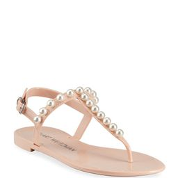 Stuart Weitzman Goldie Pearly Stud Jelly Sandals   Neiman Marcus