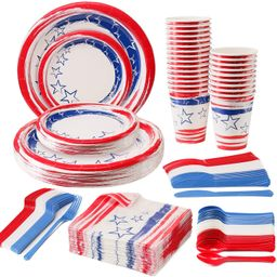 Disposable Patriotic Dinnerware Set, 4th of July American Flag Party Supplies Decorations, Plasti...   Amazon (US)