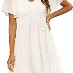 Zattcas Women Smocked Flutter Sleeve V Neck Ruffle Mini Swiss Dot Babydoll Dress | Amazon (US)
