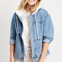 Vigoss® Medium Wash Hooded Denim Jacket   Maurices