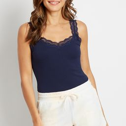 Solid Lace Trim Ribbed Tank Top | Maurices