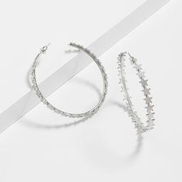 Silver Star Hoop Earrings | Maurices