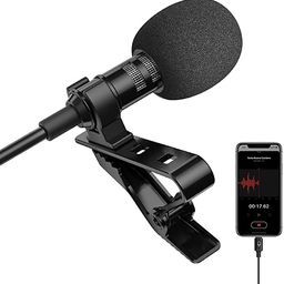 Microphone Professional for iPhone Lavalier Lapel Omnidirectional Condenser Mic Phone Audio Video... | Amazon (US)