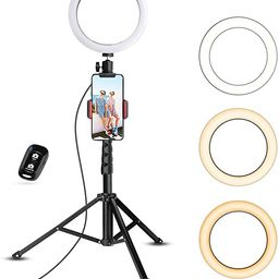 UBeesize Selfie Ring Light with Tripod Stand & Cell Phone Holder for Live Stream/Makeup, Mini Led... | Amazon (US)