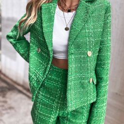 Double Breasted Flap Detail Tweed Blazer | SHEIN