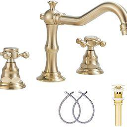 Brushed Gold Bathroom Faucet GGStudy 2 Handles 3 Holes Widespread Bathroom Sink Facuet Farmhouse ...   Amazon (US)