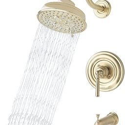 Champagne Gold Brass Bathroom Tub Shower Faucet Complete Set Combo with Valve, DAYONE Rainfall Sh...   Amazon (US)
