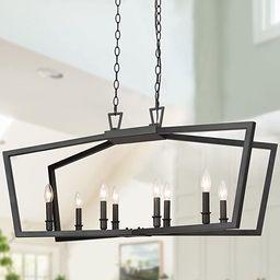 KSANA Black Chandelier, Modern 8 Lights Metal Light Fixture for Dining Room and Kitchen Island | Amazon (US)