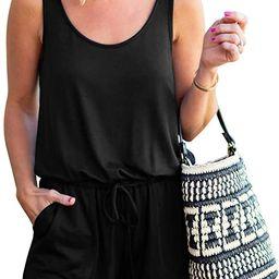 REORIA Womens Summer Scoop Neck Sleeveless Tank Top Short Jumpsuit Rompers   Amazon (US)