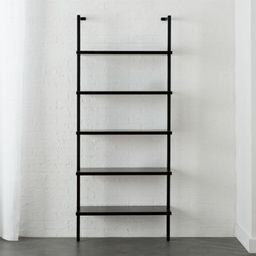 """Stairway Black 72.5"""" Wall Mounted Bookcase + Reviews   CB2   CB2"""