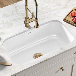 Kraus KEU-14WHITE Pintura 16 Gauge Undermount Single Bowl Enameled Stainless Steel Kitchen Sink, ... | Amazon (US)