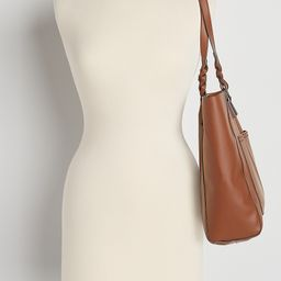Cognac Braided Strap Tote Bag | Maurices