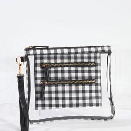 Gingham Trim Lucite Wristlet | Cato Fashions