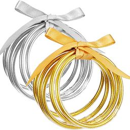 10 Pack Gold and Sliver Glitter Filled Party Bangles- Bowknot Glitter Filled Jelly Silicone Bangl... | Amazon (US)