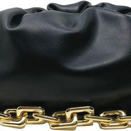 Women's Chain Pouch Bag   Cloud-Shaped Dumpling Clutch Purse   Ruched Chain Link Shoulder Handbag   Amazon (US)