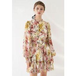 Flying Petals Print Puff Sleeves Ruffle Dress in Cream | Chicwish