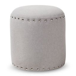 Rosine Modern and Contemporary Fabric Upholstered Nail Trim Ottoman - Baxton Studio | Target