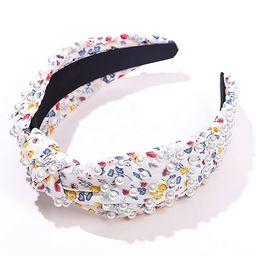 Floral Pattern Knot Headband Women White Pearl Knotted Cute Hairband Stylish Fashion Padded Hair ...   Amazon (US)