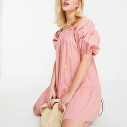 Influence puff sleeve cotton poplin mini dress in pink | ASOS (Global)