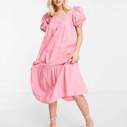 Influence puff sleeve cotton poplin midi dress in pink | ASOS (Global)