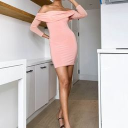 Club L ruched mesh bardot bodycon mini dress in dusty pink | ASOS (Global)