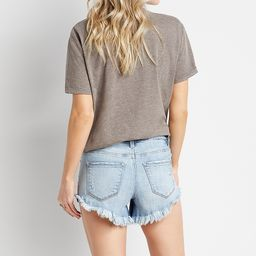 KanCan™ High Rise Light Wash Fray Cuff 4in Short | Maurices