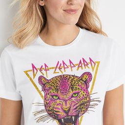White Def Leppard Oversized Graphic Tee | Maurices