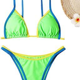 WDIRARA Women's Two Tone Halter Tie Side 2 Piece Bikini Set Swimsuit   Amazon (US)