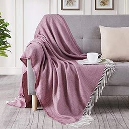 BOURINA Decorative Herringbone Faux Cashmere Fringe Throw Blanket Lightweight Soft Cozy for Bed o... | Amazon (US)