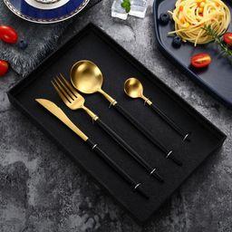 Black Gold Flatware Sets 304 Stainless Steel Tableware 4 Pcs Including Forks Spoons Knives | Wayfair North America