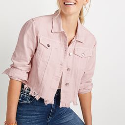 Vigoss® Pink Ripped Hem Cropped Denim Jacket | Maurices