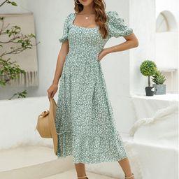 Allover Floral Print Tie Back Ruffle Hem Dress | SHEIN